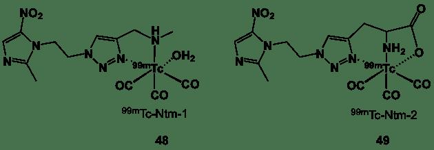 Figure 15. 99mTc bi- and tridentate complexes bearing a triazole linker.