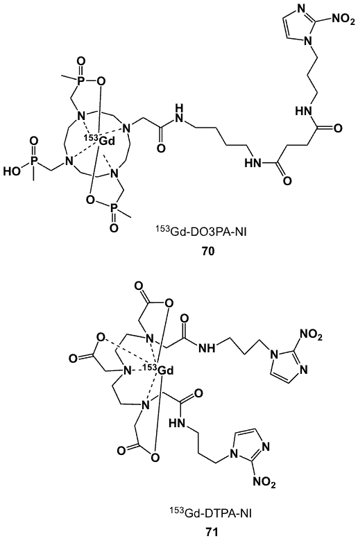 Figure 27. 153Gd complexes of DO3PA-nitroimidazole (70) and DTPA-nitroimidazole (71).