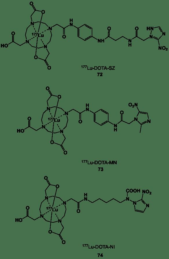 Figure 28. 177Lu-labelled DOTA nitroimidazole derivatives (72-74).