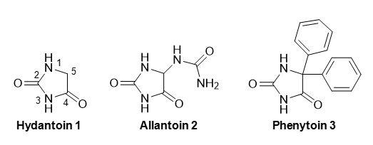 Figure 1 Structures of hydantoin, allantoin and phenytoin