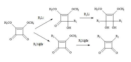 Figure 19. Michael addition of Grignard reagents and lithium reagents to dimethyl squarate
