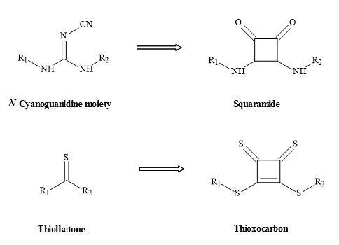 Figure 26. Squaryl metaphors of thiolketones and N-cyanoguanidine